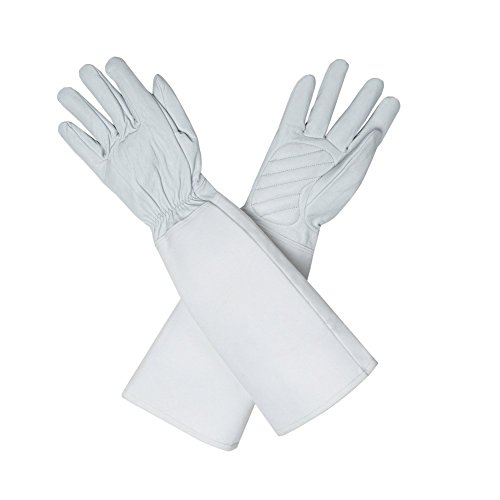 chengyi Thorn Proof Ziegenleder Garten-Handschuhe lang Ärmel zu schützen Arme Rose Beschneiden, Small, weiß, 2 (Thorn Proof-garten-handschuhe)