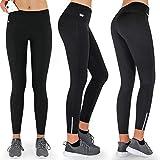 Formbelt® Thermo Leggings Damen Winter Laufhose mit Tasche lang - Stretch-Hose hüfttasche für Smartphone iPhone Handy Schlüssel (schwarz L)