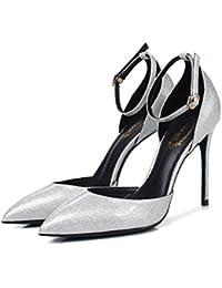 Damen Halbschuhe Schuhe luxus Retro Pumps 3980 Schwarz Silber 38