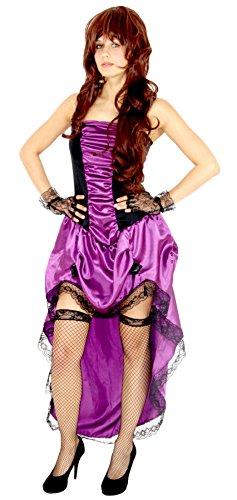 Foxxeo 40172 | Burlesque Kleid Karneval Kostüm für Damen Saloon Tänzerin lila 20er Damenkostüm Gr. S - XXL aubergine XXL, (Kostüme Saloon Western)