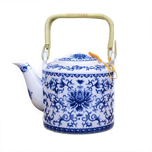 CUPWENH Théière en Porcelaine Bleue Et Blanche De 750 ML Théière en Céramique Faite Main De Kung Fu Théière en Céramique