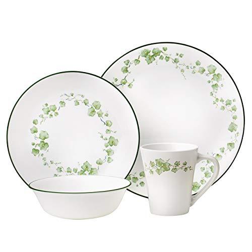 Corelle Geschirr-Set Callaway aus Vitrelle-Glas für 4 Personen 16-teilig, Splitter- und bruchfest, grün (Geschirr Corelle Grün)