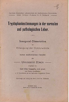 Tryptophanbestimmungen in der normalen und pathologischen Leber. (Leber Normale)