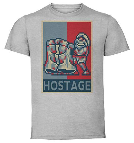 T-Shirt Unisex - Color Gray - Propaganda - Pixel Art - Metal Slug - Hostage Taglia Large - Slug-serie