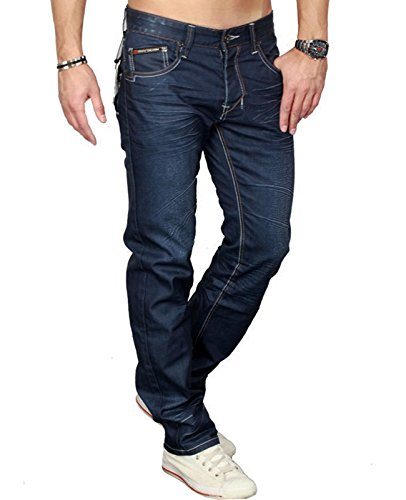 d6df4cb99ae8 GOV Denim Herren Jeans Jeanswear Jeanshose Comfort Straight Used Look (30W    33L, Dunkelblau