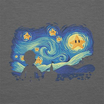 Texlab–Mario Stars Night–sacchetto di stoffa Grau
