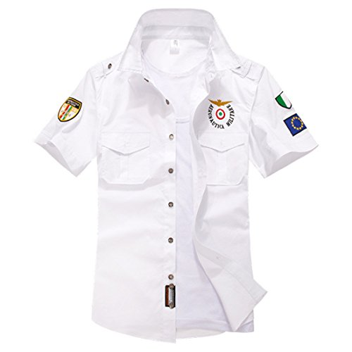 Men's Fashion Military Style Embroidery Short Sleeve Shirts white