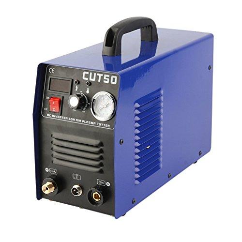 CUT 50 Plasma Schweißgerät 10-50A 230 V Welder mit Plasmabrenner & Verbrauchsmaterialien (Blau)