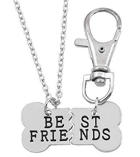 Lovelegis Collana Best Friends - Uomo e Donna - Amicizia - - Migliore Amico - BFF - Portachiavi - Osso Diviso a Metà - Animale - Cane - Gatto - Colore Argento