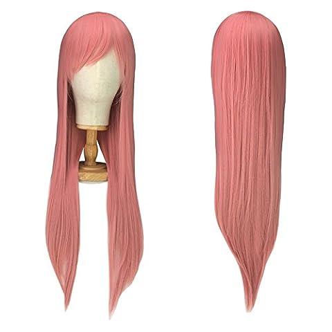 Perücke Rosa Pink Lange 80cm Damen perücken Karneval Cosplay Halloween fasching Mottoparties Anime (In Halloween Kostüme)