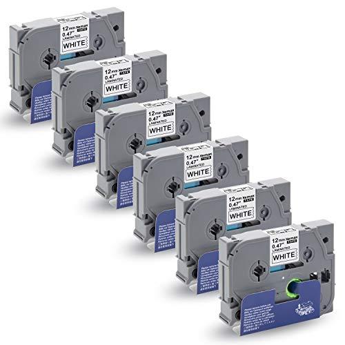 6x Xemax Compatibile Etichettatrice P-touch Tze 0.47' 12mm x 8m Tze-231 Tze 231 Nero su Bianco Nastri per Etichette, con Brother P-touch PT-D210VP PT-H101C PT-1010 PT-P750W PT-H100P PT-D450 D600VP