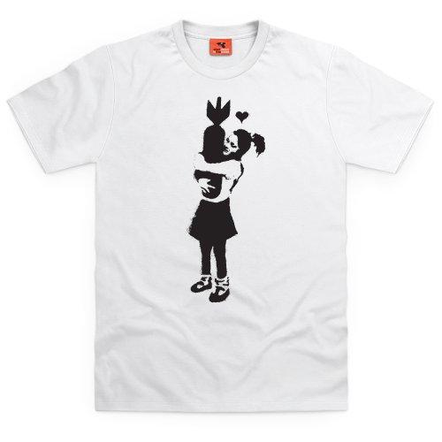 Banksy Bomb T-Shirt, Herren Wei