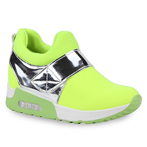 Damen Sneaker-Wedges Metallic Sneakers Klettverschluss Schuhe Neongelb