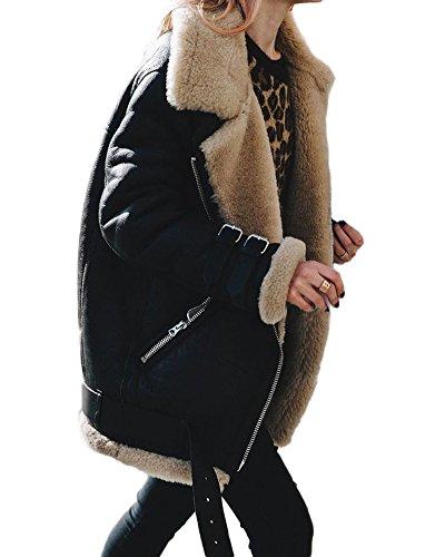 Minetom Frauen Chunky Wildleder Wolle Biker Jacke Mantel Fleece Outwear Schwarz DE 46 - Chunky Wolle Pullover