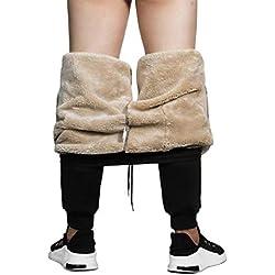MANLUODANNI Homme Pantalon de Jogging Survêtement Casual, Pants Doublure Polaire Ultra Chaud Noir 2XL