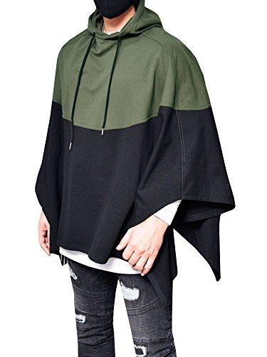 Outgobuy Männer Farbe Nähen Splice Kapuzenpullover Unregelmäßiger Saum Sweatshirt Poncho Mantel Cape Mantel (Grün, Medium)