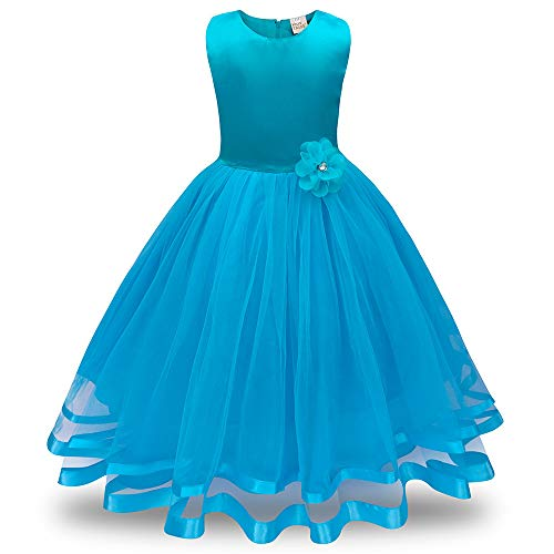 Mädchen Prinzessin Kleider, Blume Brautjungfer Solid Color Pageant Tutu Tüll Kleid Party...