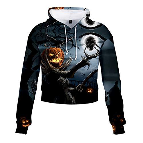 Beonzale Frauen Halloween Cool Bat Print Patchwork Brief drucken Sweatshirt Bluse Pullover Sport Jumper Tops