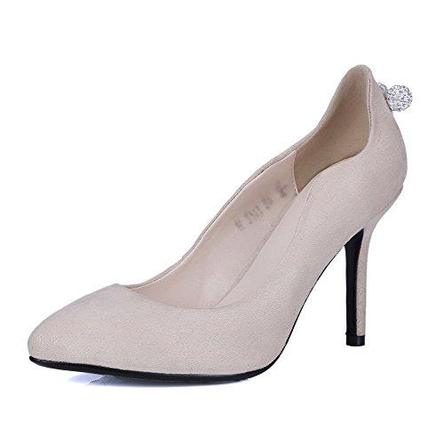 VogueZone009 Femme Tire à Talon Haut Suédé Couleur Unie Fermeture D'Orteil Pointu Chaussures Légeres Beige