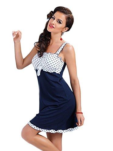 Donna, camicia da notte in viscosa a pois; confezione regalo Blue - Dark blue
