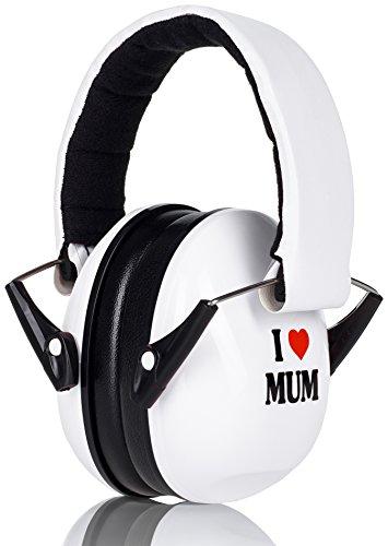 Prime Deal Gehörschutz Kinder Weiß I LOVE MUM Mitwachsend Verstellbar besonders geeignet für Ihr Baby ab 12 Monaten Kinder Gehoerschutz Ohrenschützer nach CE EN352-1 zugelassen (Kid Weiss Leder)