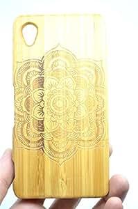 Coque Sony Xperia M4 Aqua Étui Housse de Protection pour Sony Xperia M4 Aqua (Bambou Mandala Fleur) - Collecte de Bois (TM) Étui de Protection en Bois et Couverture de Téléphone pour Votre Smartphone et Tablette