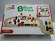 Wood Train with Track and accessories 48 Pcs