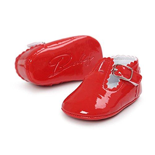 FEITONG Baby Leder Prinzessin Soft Sohle Schuhe Freizeitschuhe Rot