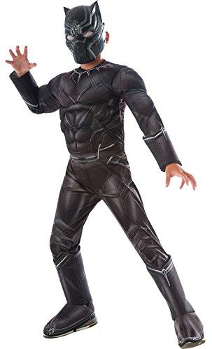 Halloween Marvel Black Kostüm Panther (erdbeerloft - Jungen Karneval Kostüm Deluxe Black Panther, Schwarz, Größe 98-104, 3-4)