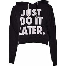 FK Styles–Camiseta de manga larga Just Do It Later Print forro polar sudadera con capucha Crop Top