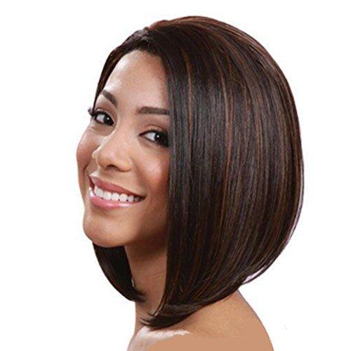 Frau Mode Perücken BOBO Kopf Synthetisches Haar Kurz Glattes Haar, Brown (Brown Box Netzwerke)