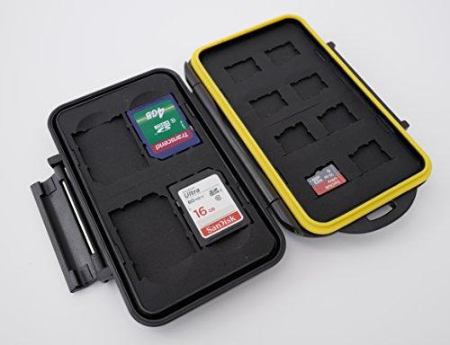 Ares Foto® MC-SDMSD12 Speicherkarten Schutzbox • Memory Card Case • Card Safe • Tasche • Etui • Aufbewahrung & Transport für 8 Micro SD und 4 SD Karten - Neue Version 2019