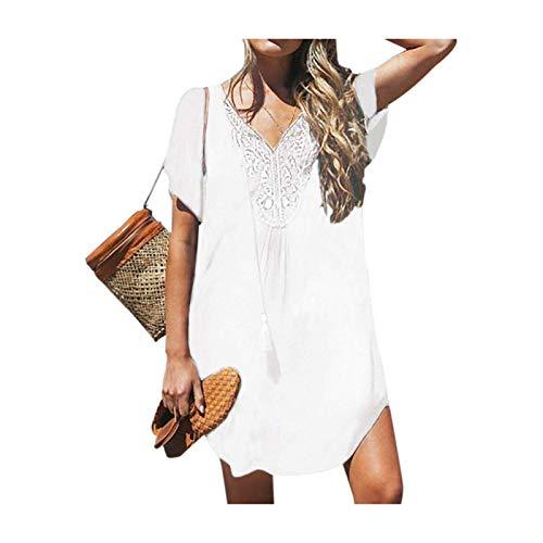 DROTYK& Women Chiffon Bikini Cover Up Perspective V-Neck Swimsuit Swimwear Beach Dress White XL UK 12 14 -