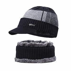 Winterschal und Mütze, warmes Strickmütze und Rundschal, Fleece-gefüttert, Wolle