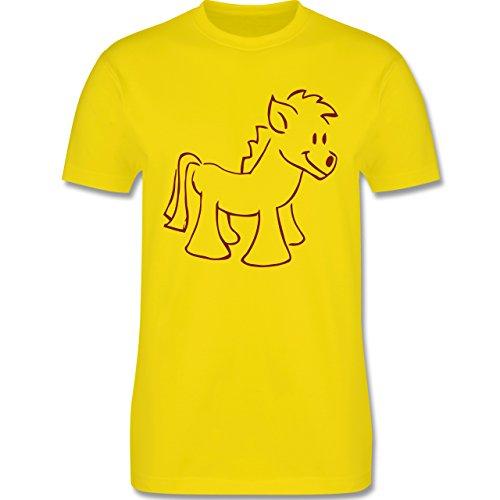Pferde - Pony - Herren Premium T-Shirt Lemon Gelb