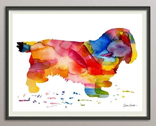 ssussex-spaniel Rasse Hunde Hunderasse Fine Art Print Aquarell Silhouette Profil Poster Kunstdruck Plakat modern ungerahmt DIN A 4 Deko Wand Bild -