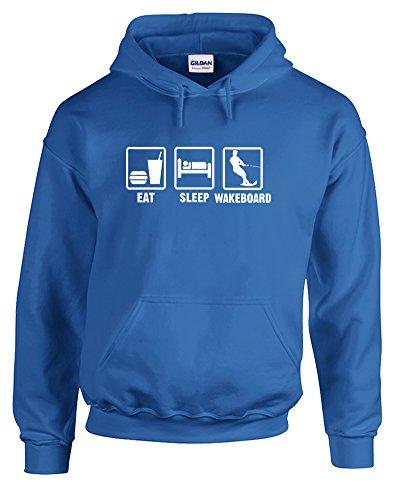 Print Wear Clothing Eat Sleep Wakeboard, Gedruckt Hoody - Pullover - Königsblau/Weiß 2XL = 127-132cm
