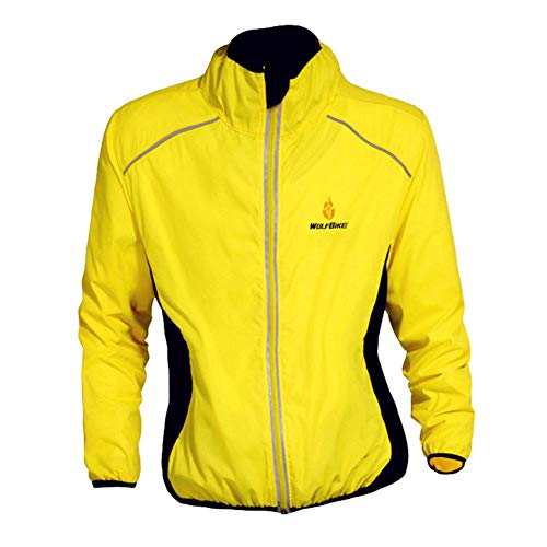 Bili Fahrradjacke Herren radjacke Winddicht Windbreaker männer Windjacke Damen Wasserdichte Sportbekleidung für Radfahren Laufen Wandern Bergsteigen(Gelb,S)