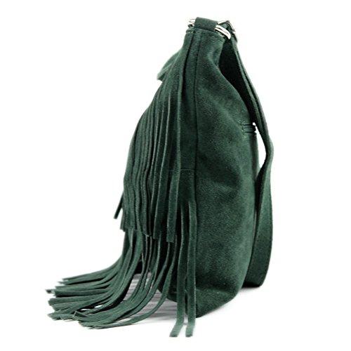 modamoda de - ital. Ledertasche Umhängetasche Fransentasche Schultertasche Wildleder T125 Blaugrün