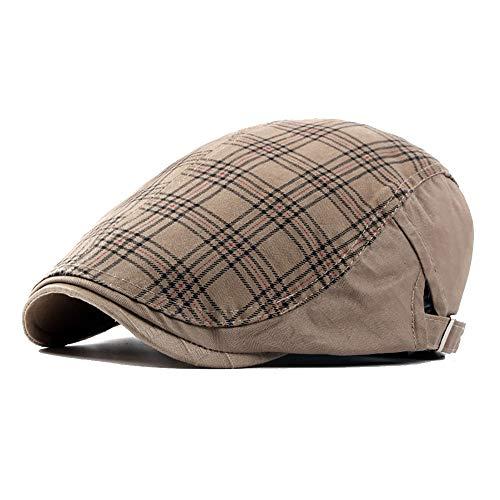 Unisex Gewaschene Baumwolle verstellbare Flache Ivy Newsboy Kollektion Hut Plaid Ivy Duckbill britischen Stil Newsboy Gatsby Irish Cap Hut (Color : 1, Size : Free Size) -