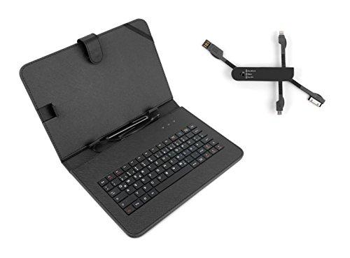 DuraGadget Set für Ihr SAMSUNG GALAXY TAB Tablet (P1000 Galaxy Tab 7 ** A9.7 SM-T550 ** S2 9.7 SM-T810 ** 4 10.1 SM-T533 ** S 10.5 SM-T805 ** Tab 4 10.1 und GT-2 P5100): DuraGadget schwarzes Etui, handgefertigt aus Premium Kunstleder und integrierte, deutsche Tastatur, Micro-USB (rechtwinkliger Stecker) sowie optionaler Standfunktion - mit 4-fachem USB Multi-Adapter für iPhone, Micro-USB-fähige Geräte und mehr