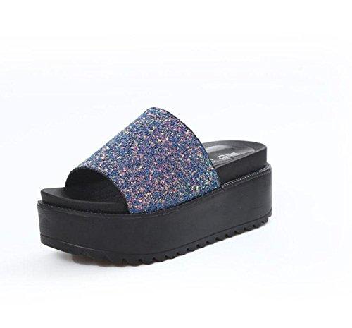 estate Europa e in America pantofole nuove fondo pesante femmina paillettes estate focaccina con i tacchi alti sandali dei pistoni della resistenza di parola Ms. Blue