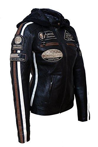 Urban Leather Damen Motorradjacke mit Protektoren, Schwarz, L - 6