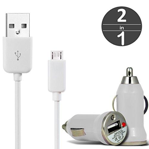 [2 in 1 Set] KFZ USB Charger Universal Ladegerät Adapter für Auto mit LED-Anzeige 1 A / 5 W + Micro USB 2.0 Kabel 1 m Datenkabel von wortek Weiß