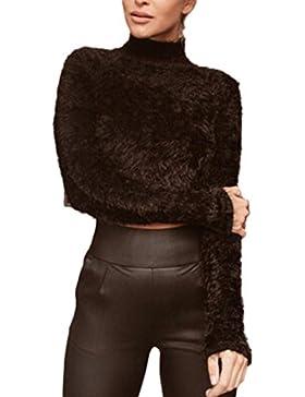 Mujeres Calientes Solidos De Alta Cuello Camisa Unida Crop Top Tee Suéteres