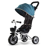QXMEI Childrens Folding Tricycle 6 Months To 6 Years Light And Sturdy Kids Tricycle Detachable And Adjustable Push Handle 3-Point Safety Belt Folding Sun Canopy Child Trike Maximum Weight 50 Kg