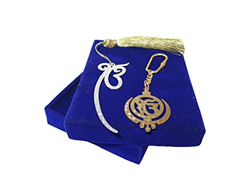 Ek Onkar Silver Plated Bookmark & Khanda Gold Plated Keychain with Velvet Gift Box - Perfect Gift for Sikh Religion