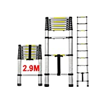 QITAO® Telescoping Ladder 9.5FT | 2.9M EN131 Aluminum Telescopic Extension Tall Multi Purpose Loft Ladder, 330 Pound / 150 kg