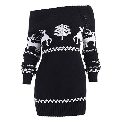 OverDose Damen Womens Frohe Weihnachten Plus Size Pullover Hirsch Elch Printed Party Startseite Cosplay Elegant Skew Neck Sweatshirt Outwear Hoodie Langarmshirts(X-A-Schwarz,EU-36/CN-M)