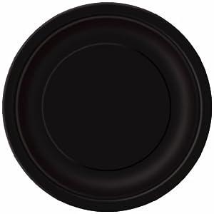 Unique Party -  Platos de Papel - 17.1 cm - Negro - Paquete de 20 (32044)